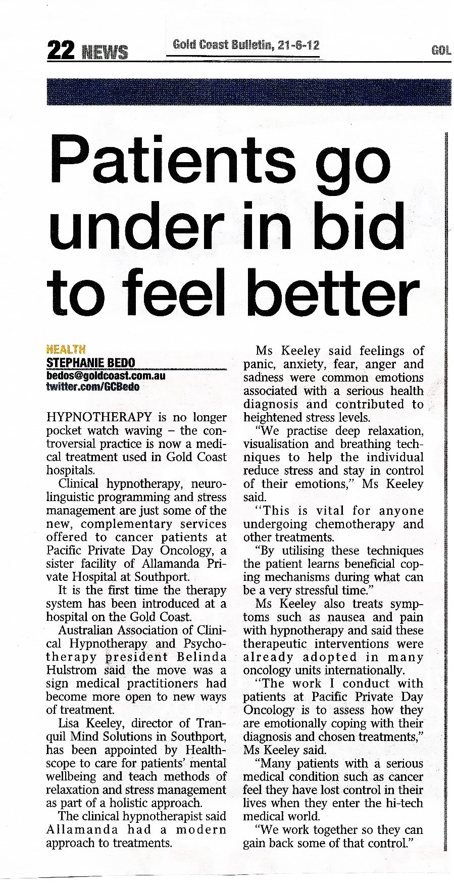 TranquilMinds Gold Coast Bulletin Article 21-6-12 001
